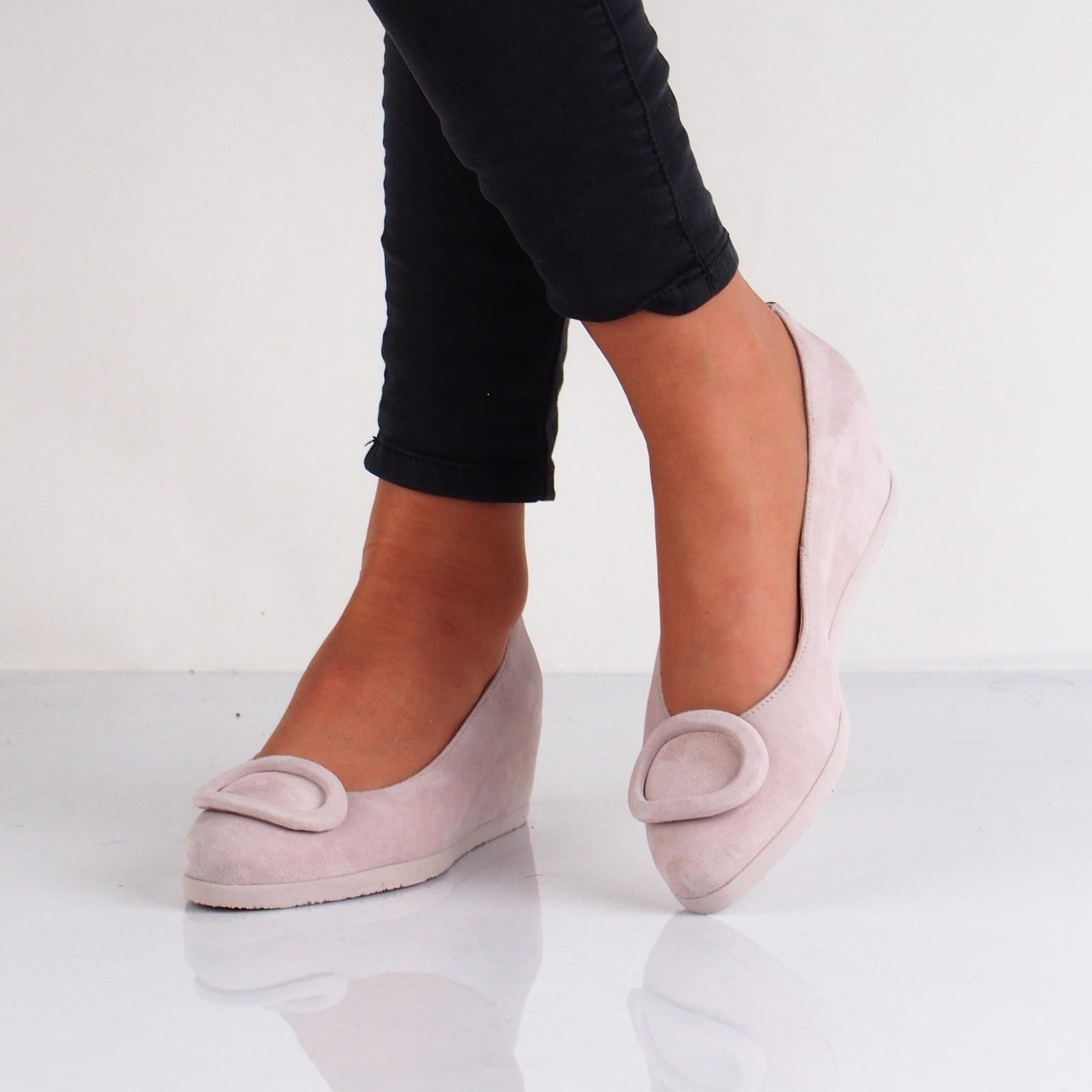 Högl dámské semišové balerínky na klinové podrážce - růžové