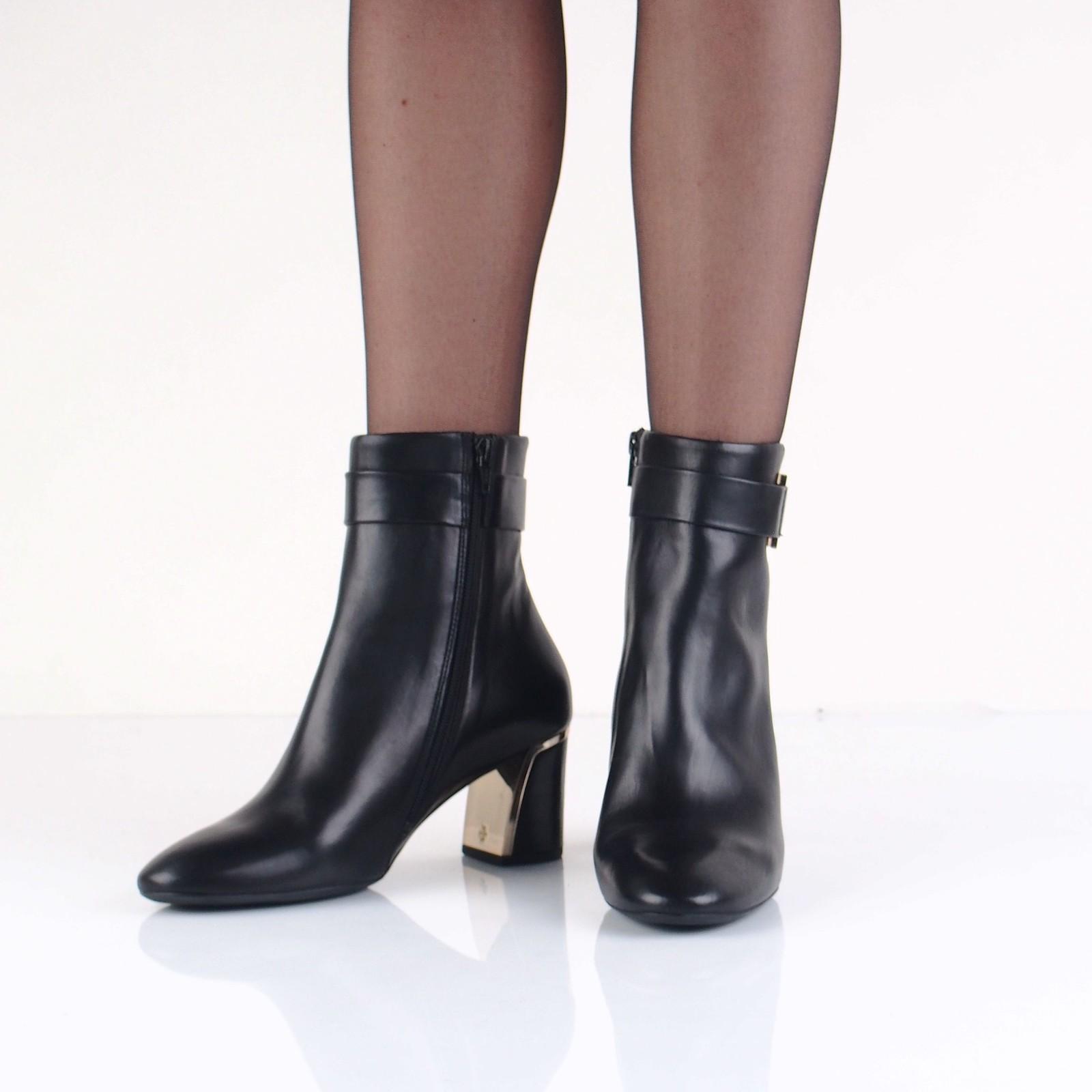Högl dámské stylové kožené kotníkové boty na vysokém podpatku - černé