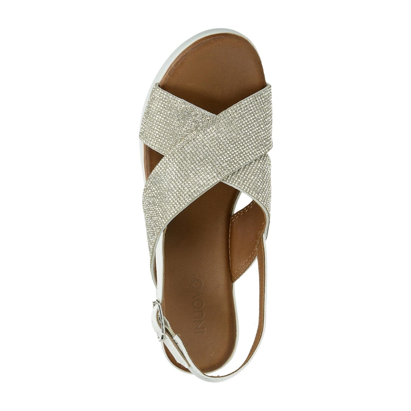 Inuovo dámské elegantní sandály na klinové podrážce - bílé