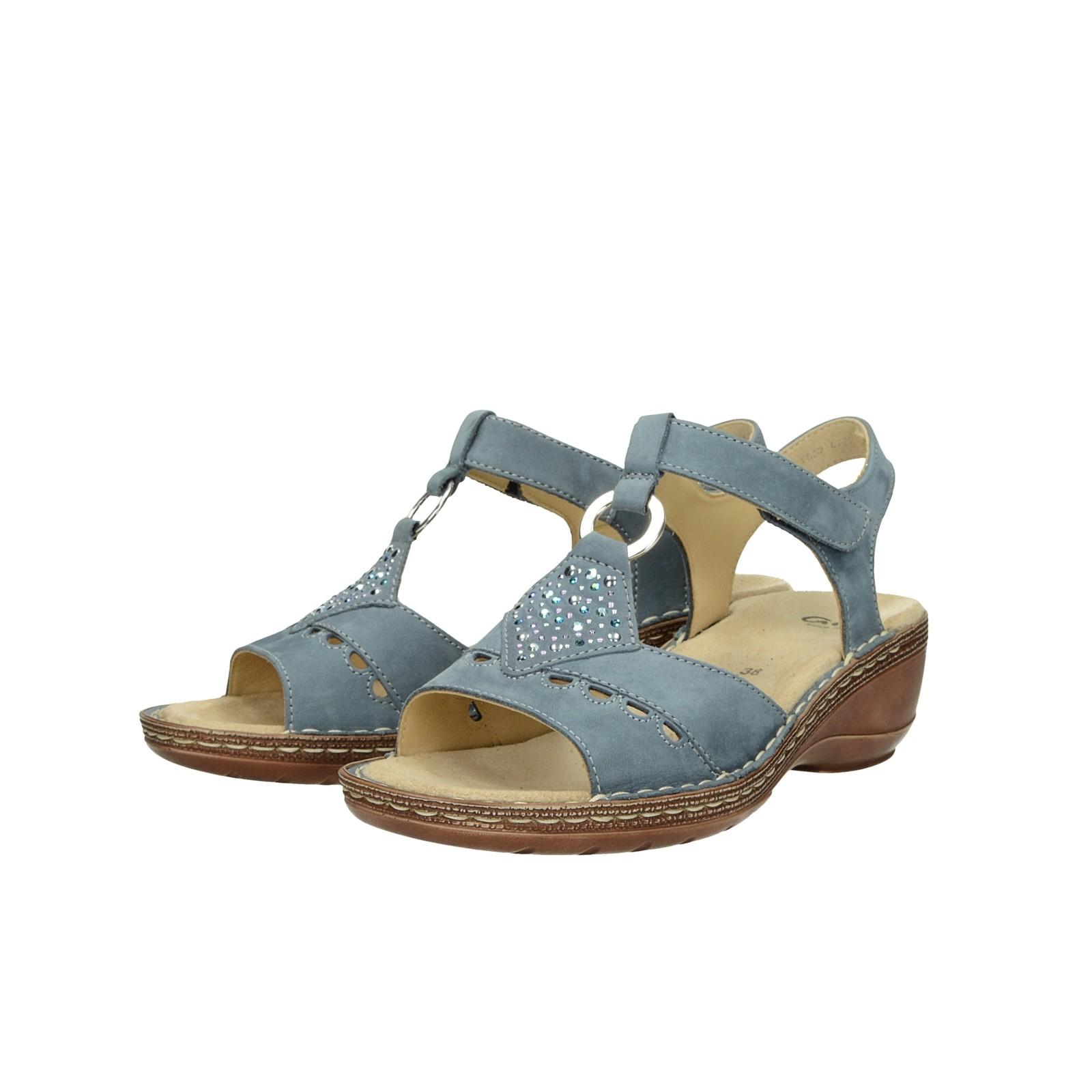 Ara dámské nubukové stylové sandály na suchý zip - modré
