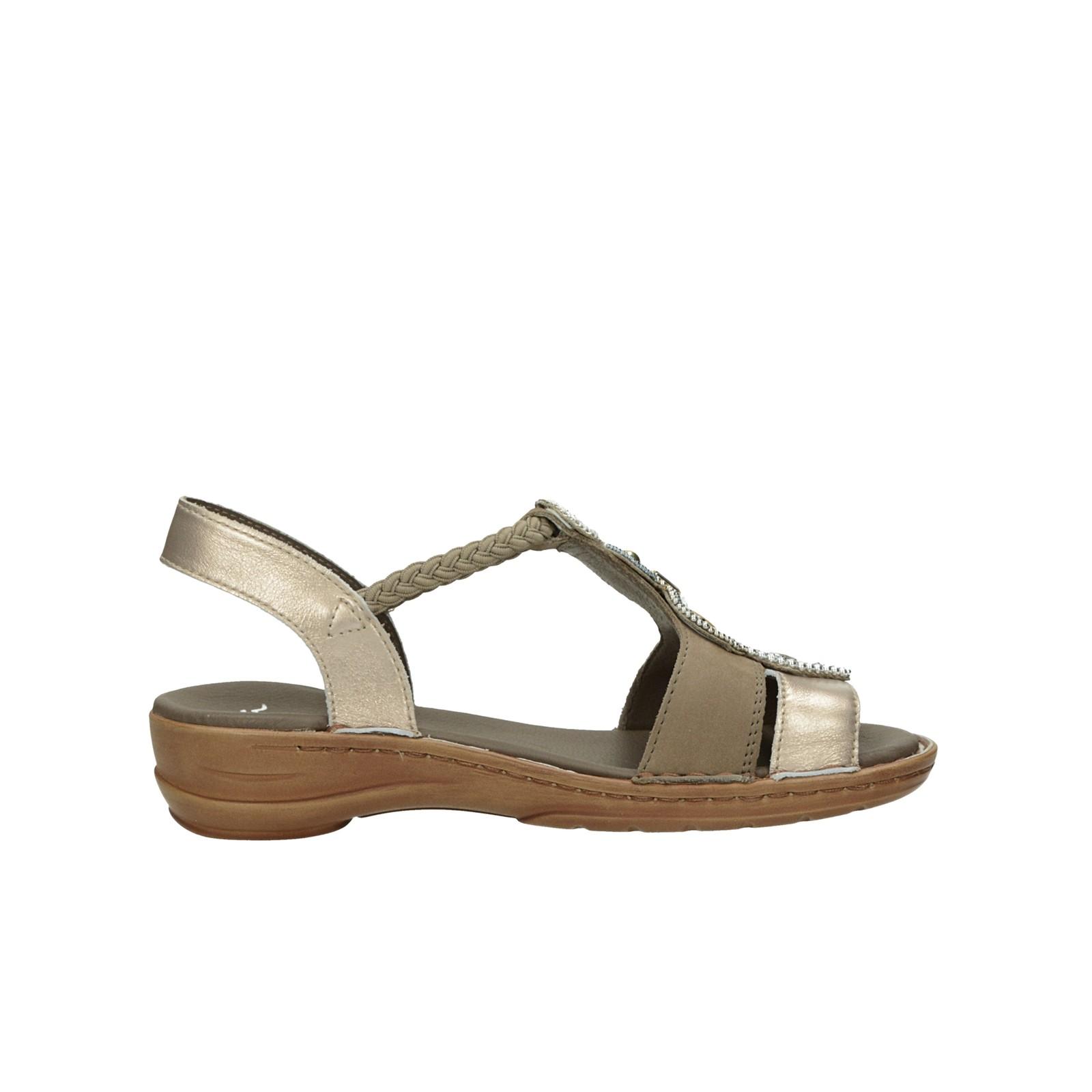 Ara dámské kožené sandály s ozdobnými prvky - bronzové