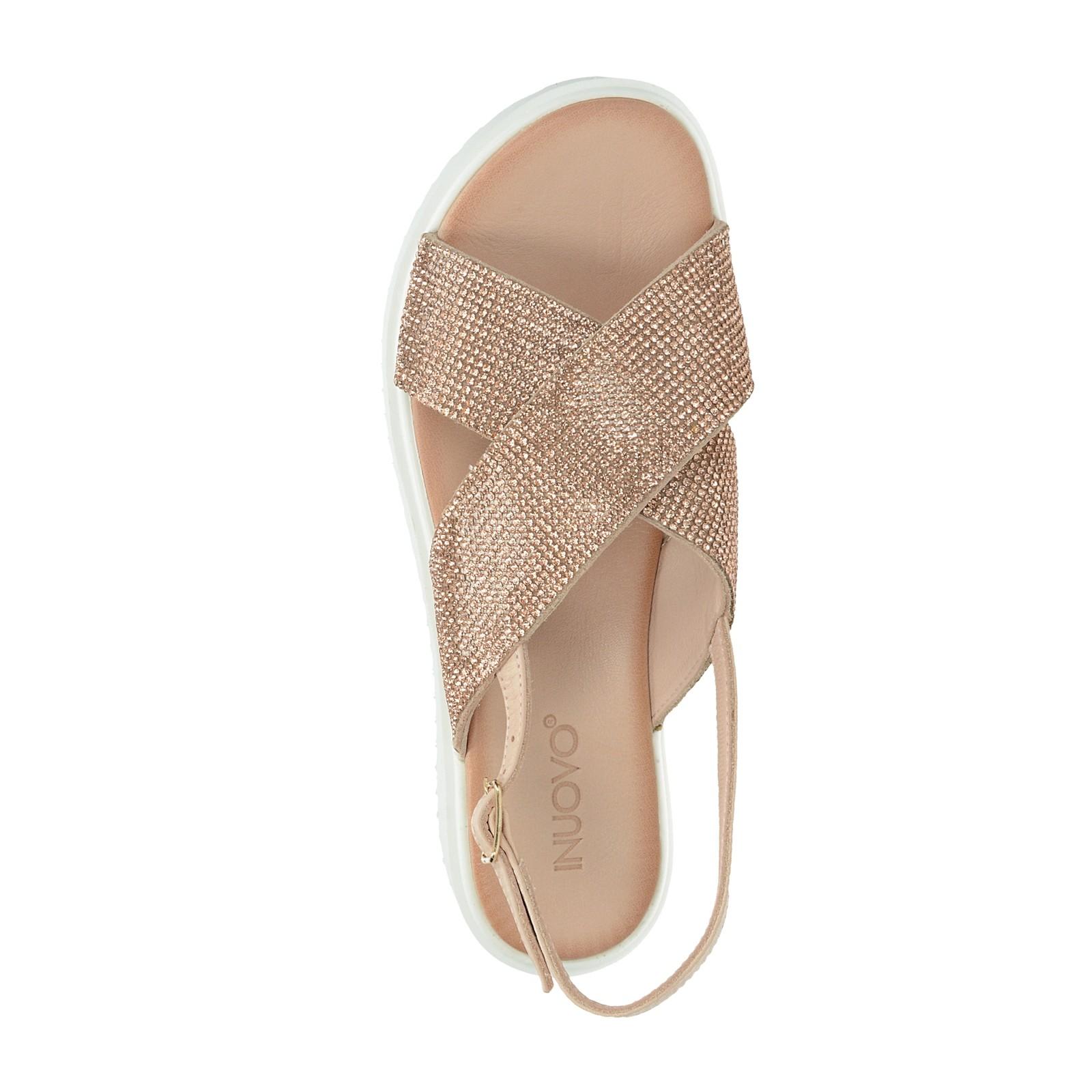 Inuovo dámské stylové sandály s ozdobnými kamínky - růžové