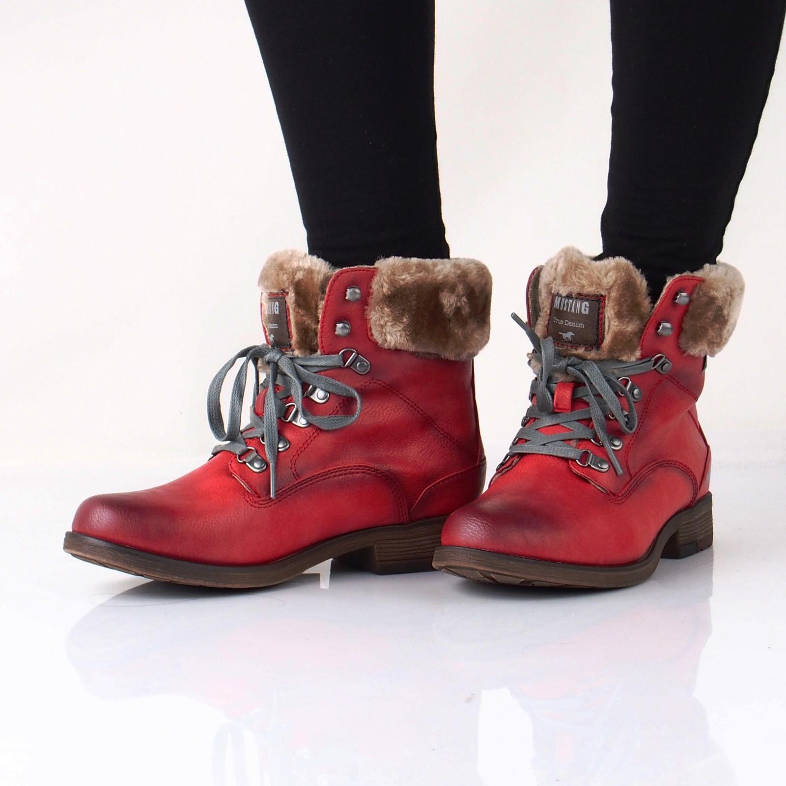 Kotníková obuv. Mustang dámské zateplené kotníkové boty - červené ... 7ff56bc724