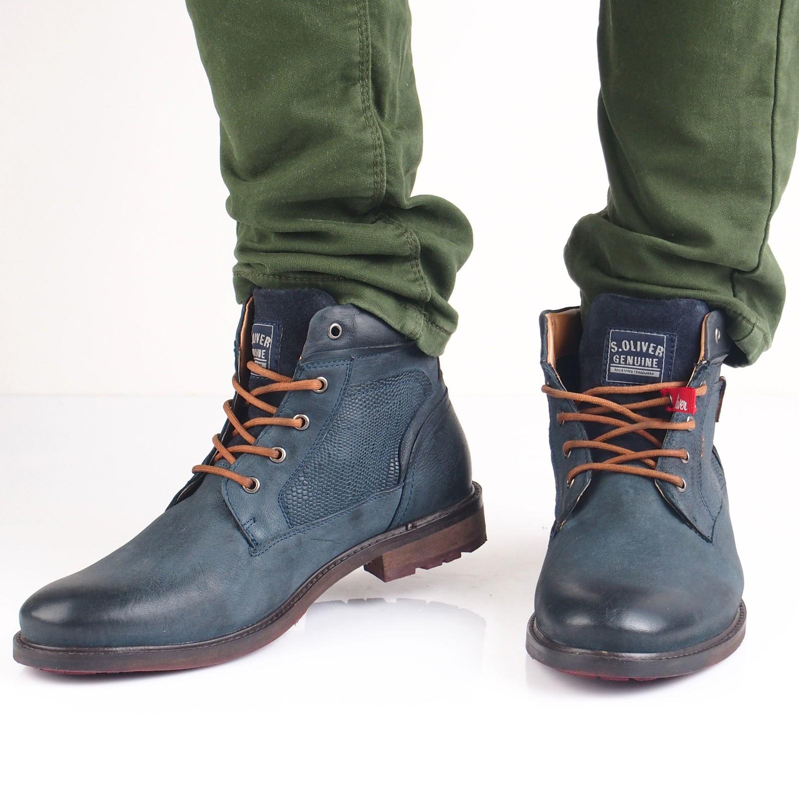 s.Oliver pánská kožená kotníková obuv - tmavomodrá
