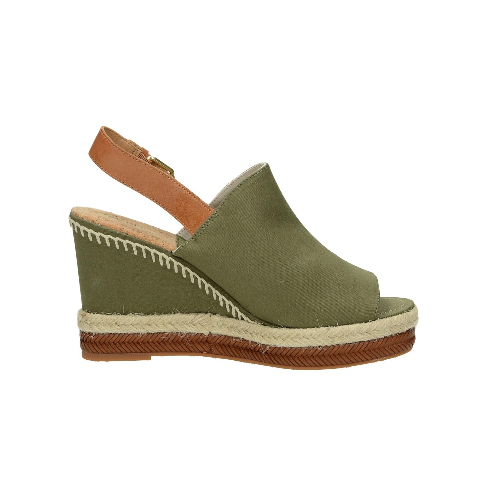 Gant dámské stylové sandály na klinové podrážce - olivové