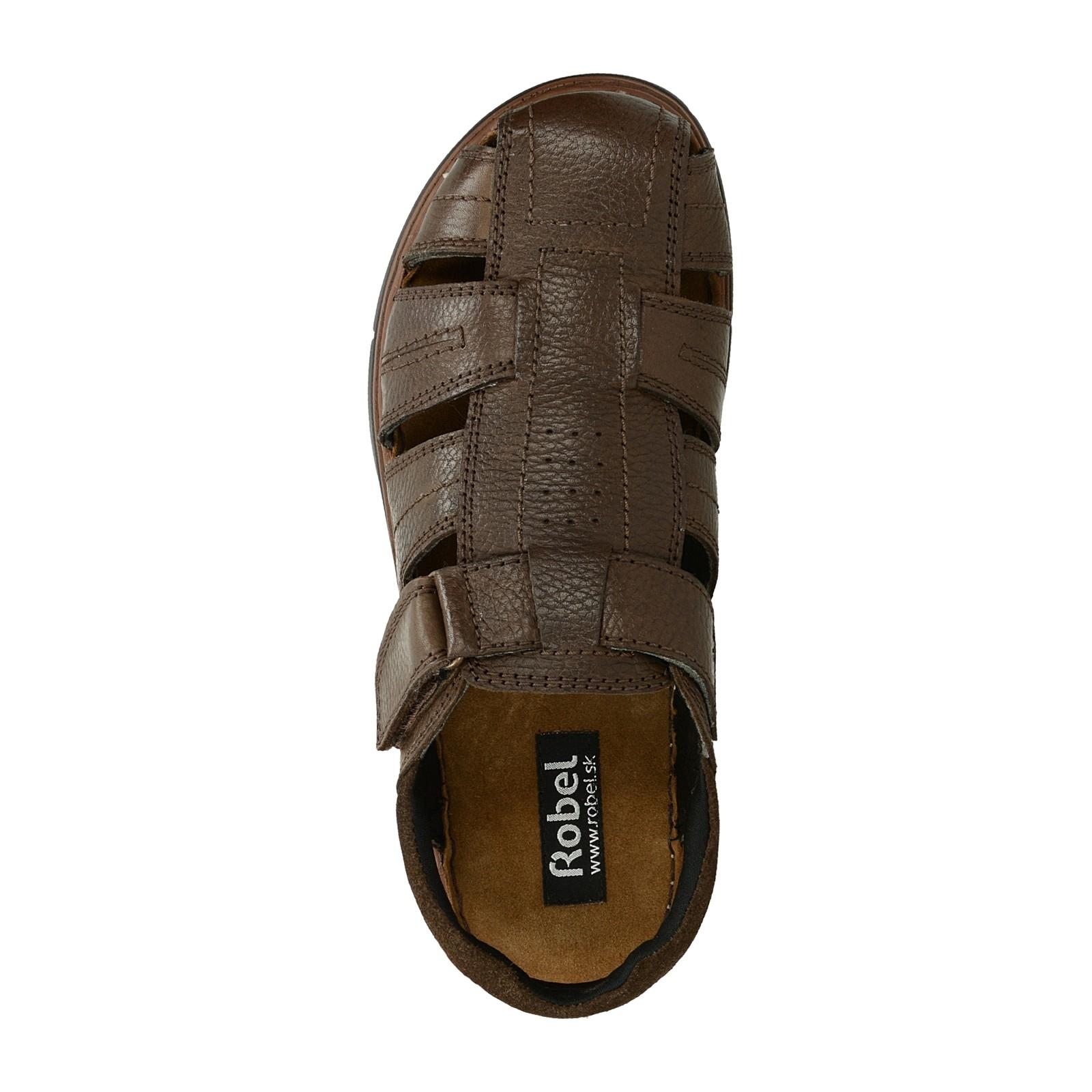 Robel pánské kožené sandály na suchý zip - tmavohnědé
