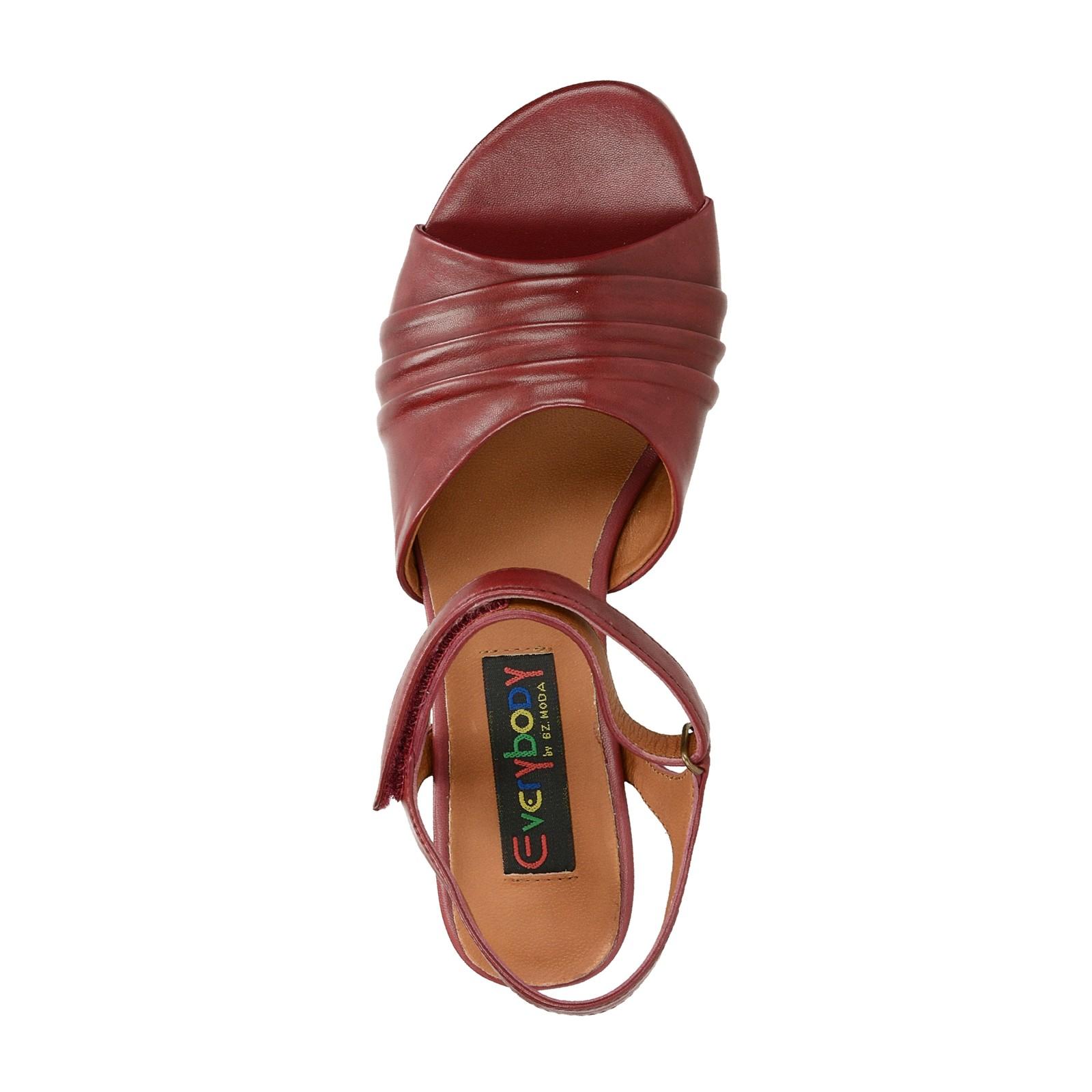 Everybody dámské kožené sandály - bordó
