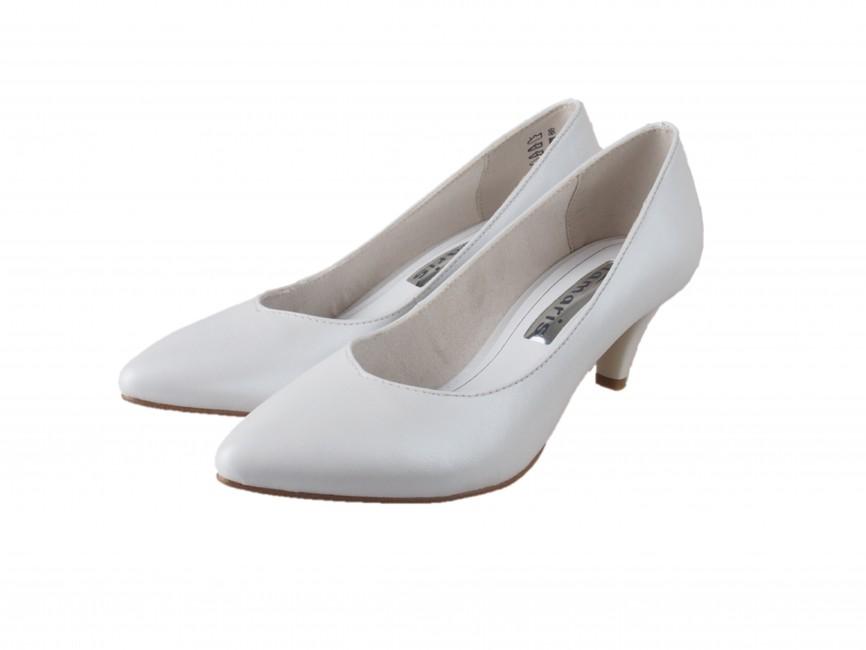 Tamaris dámské lesklé lodičky na nízkém podpatku - bílé