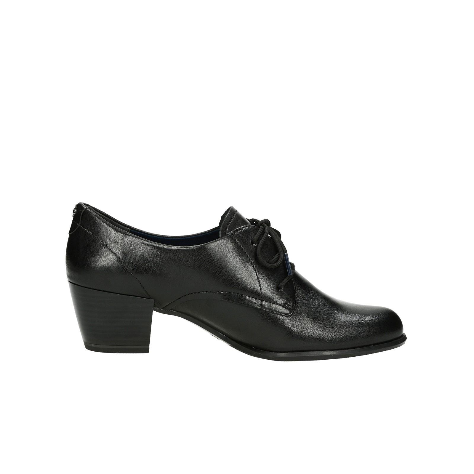 Tamaris dámské kožené polobotky na podpatku - černé ... b98f10e08d
