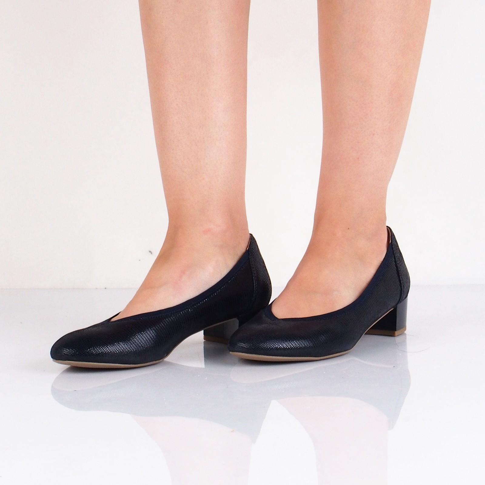Caprice dámské pohodlné balerínky na podpatku - tmavomodré