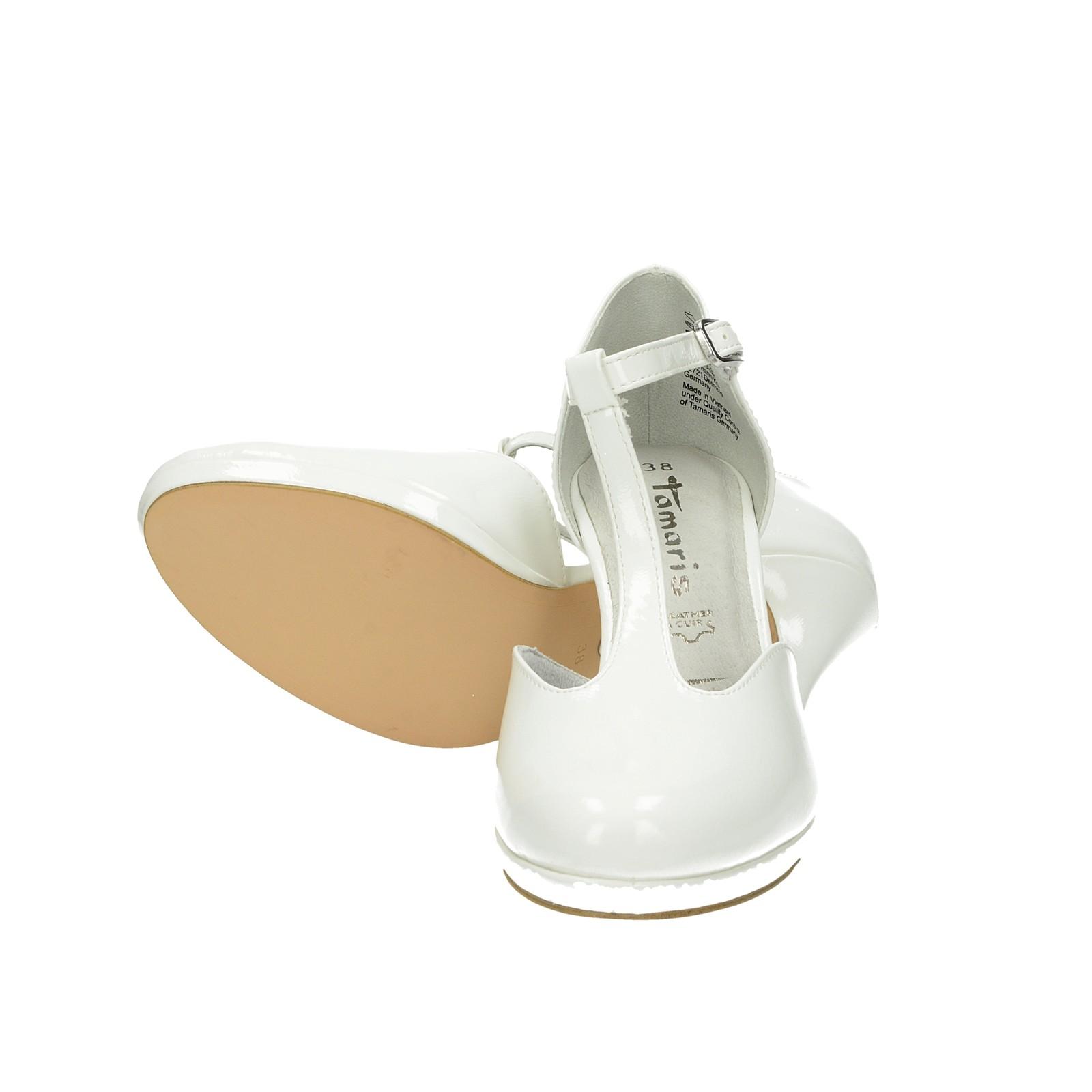 Tamaris dámské stylové lodičky s řemínkem - bílé