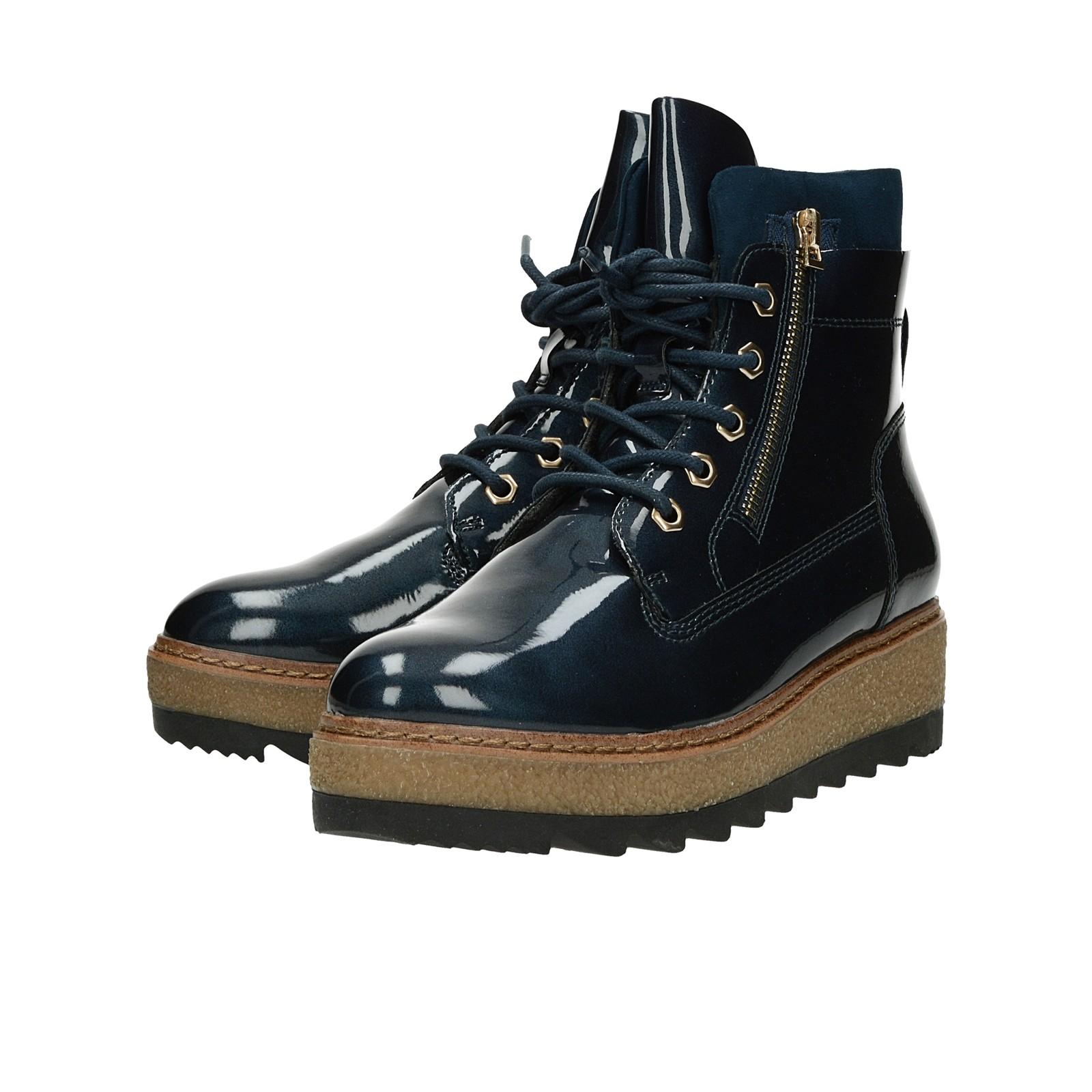 a9c61bd63f57 ... Tamaris dámské lesklé kotníkové boty na klinové podrážce - modré ...
