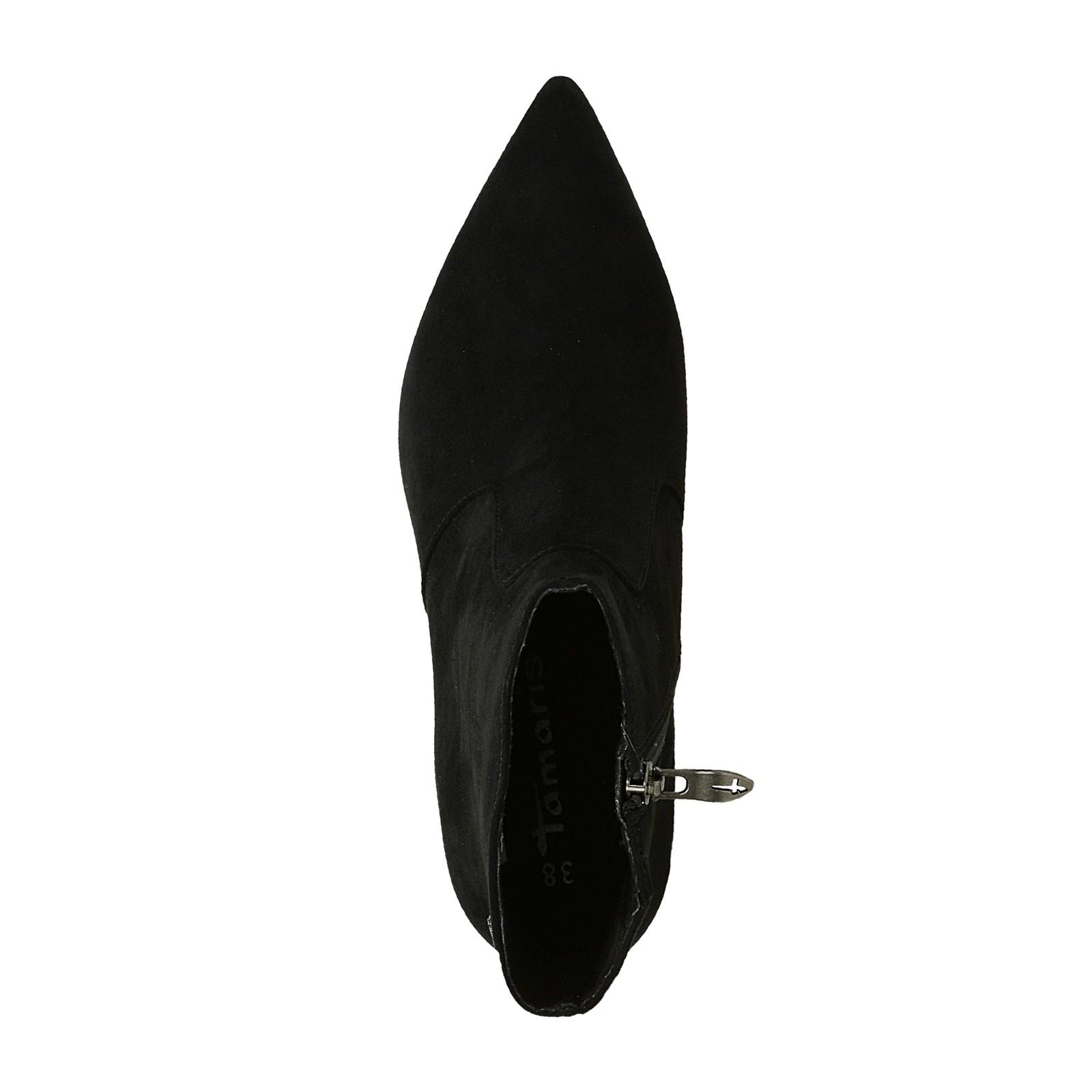 3bea3d326bc Tamaris dámské kotníkové boty s ozdobnými kamínky na podpatku - černé ...