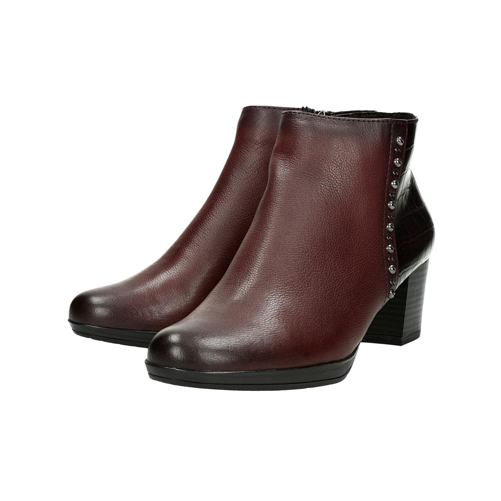 b707832917 Marco Tozzi dámské kožené kotníkové boty - bordó ...
