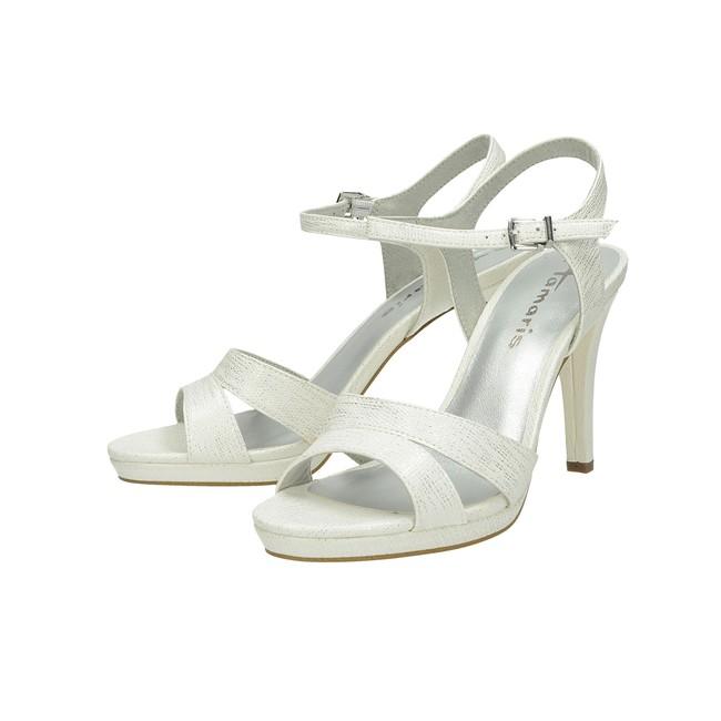 ... Tamaris dámské elegantní sandály na podpatku - bílé ... b6098973d4