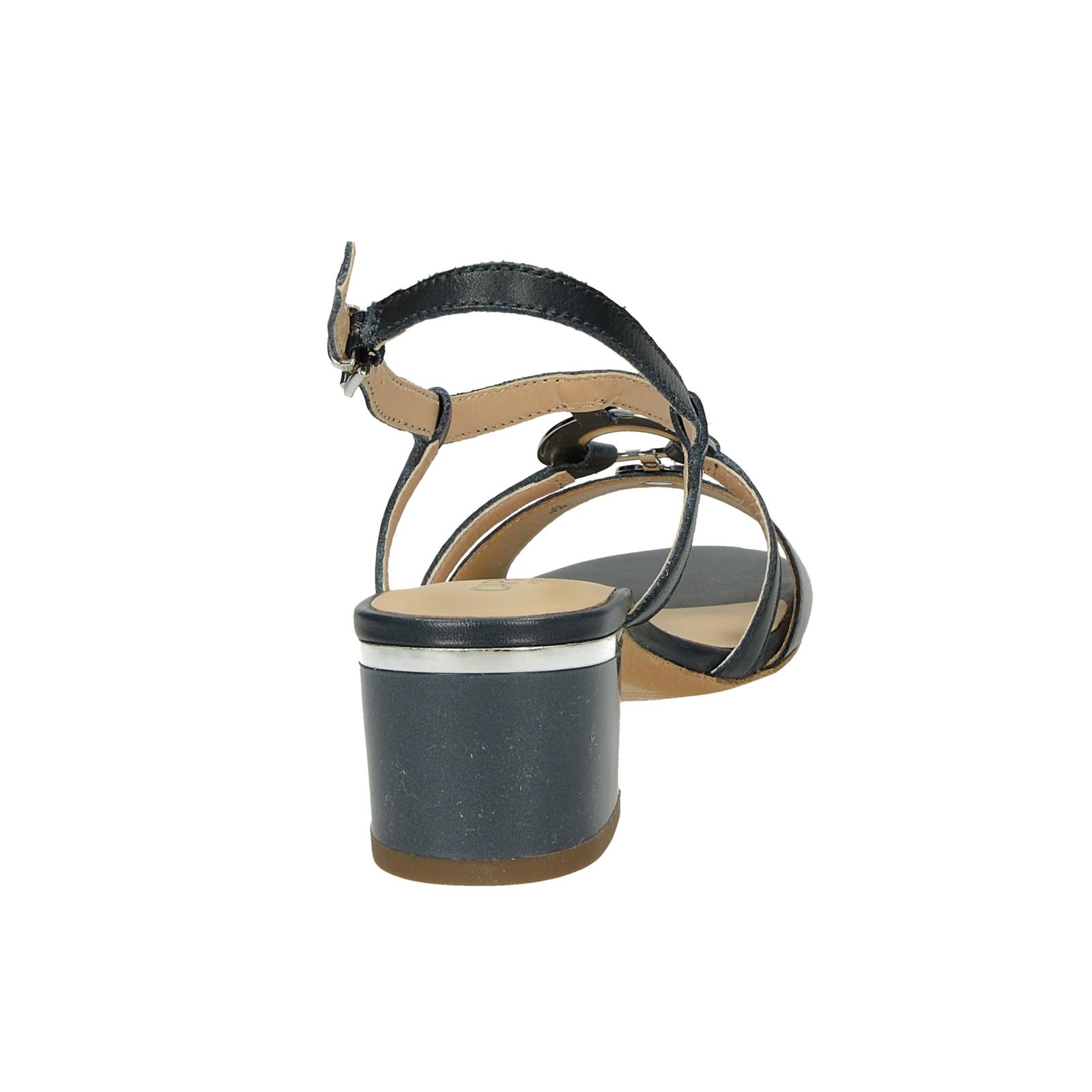 Caprice dámské stylové kožené sandály - tmavomodré