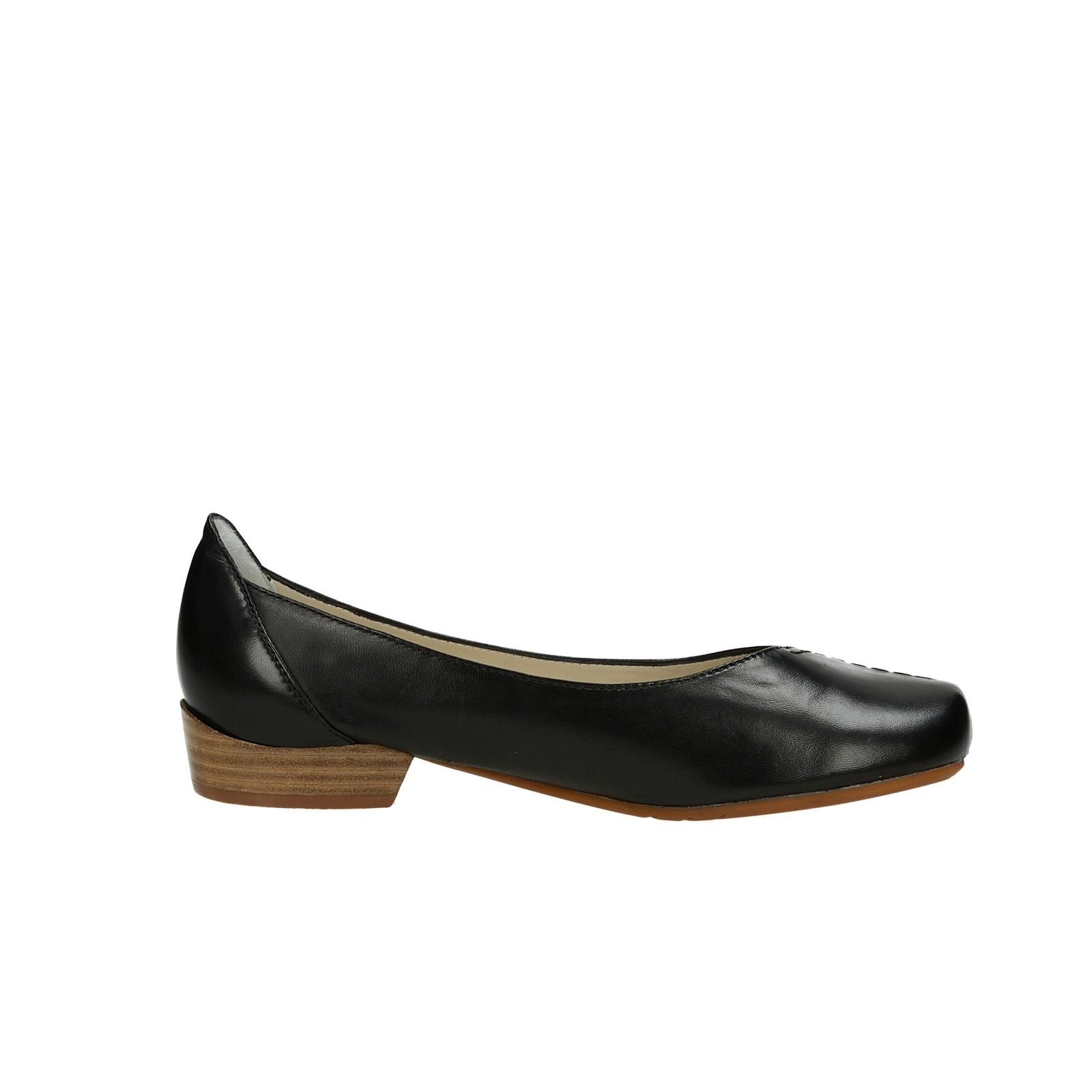 Canal Grande dámské kožené balerínky na podpatku - černé