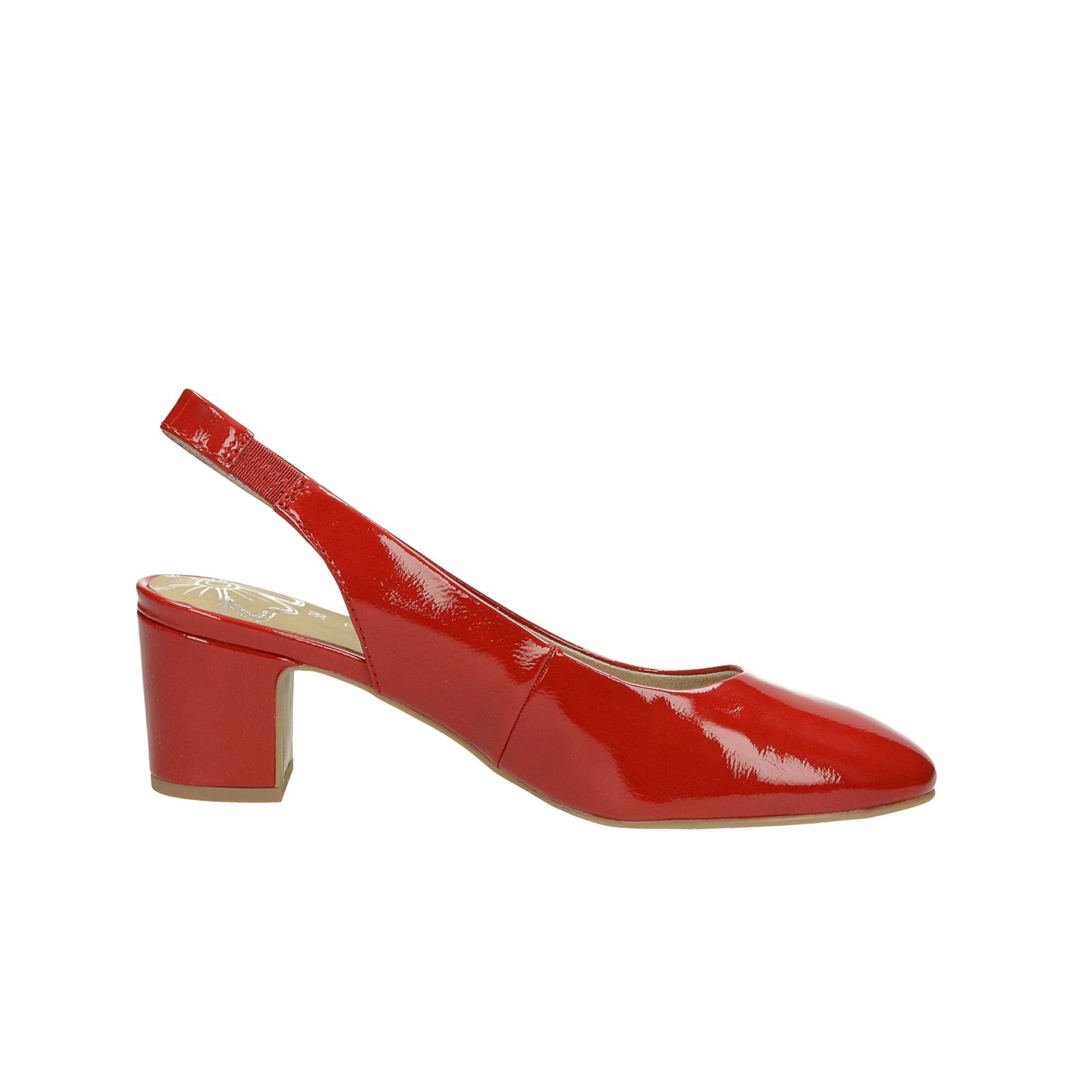 Marco Tozzi dámské lesklé lodičky s otevřenou patou - červené