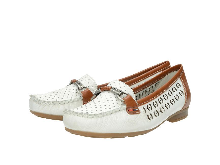 8e3265c85cebb Rieker dámské mokasíny - bílé | 4008580-WHTNUSS cz.robel.shoes