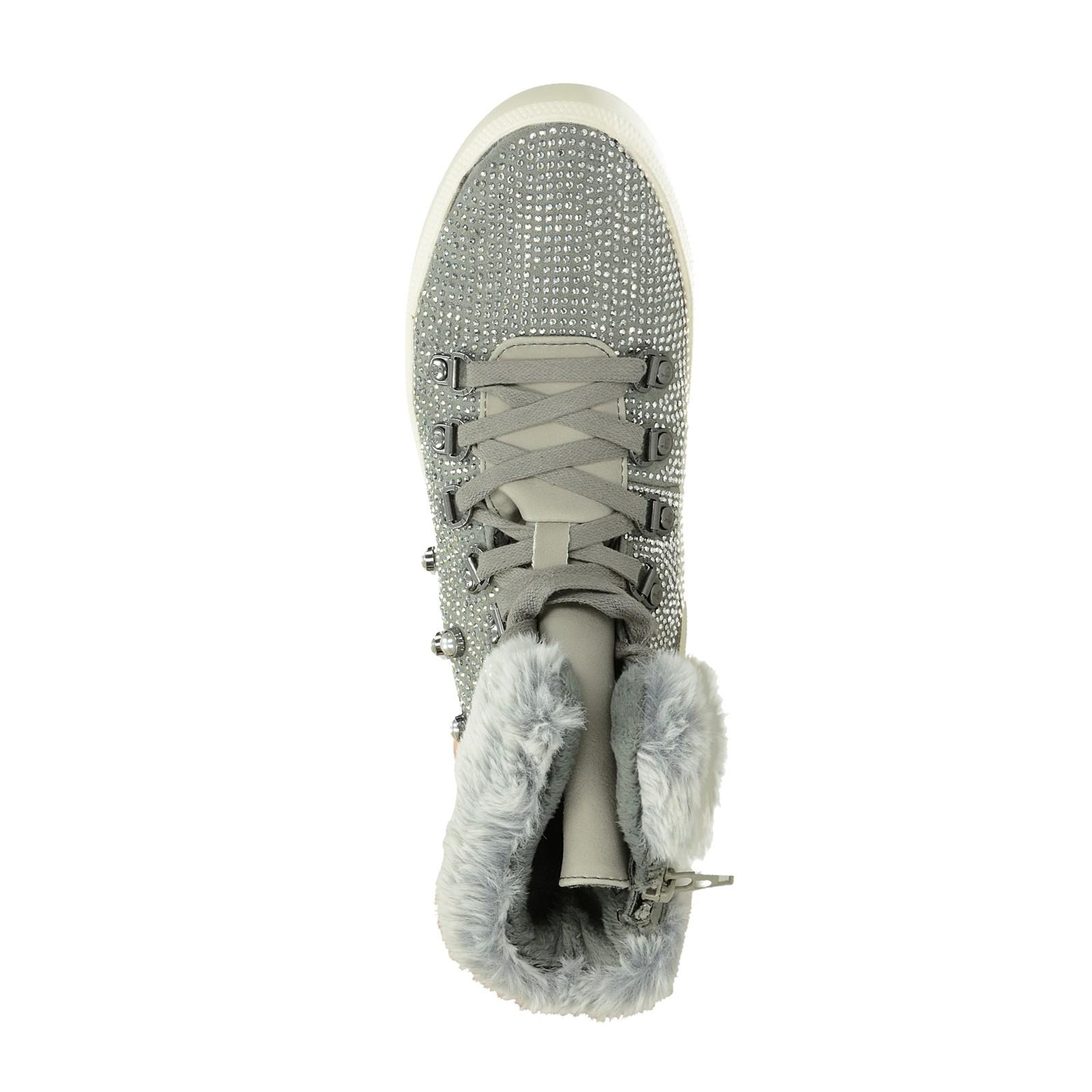 b88cedb547b Bugatti dámské stylové kotníkové boty s ozdobnými kamínky - šedé ...