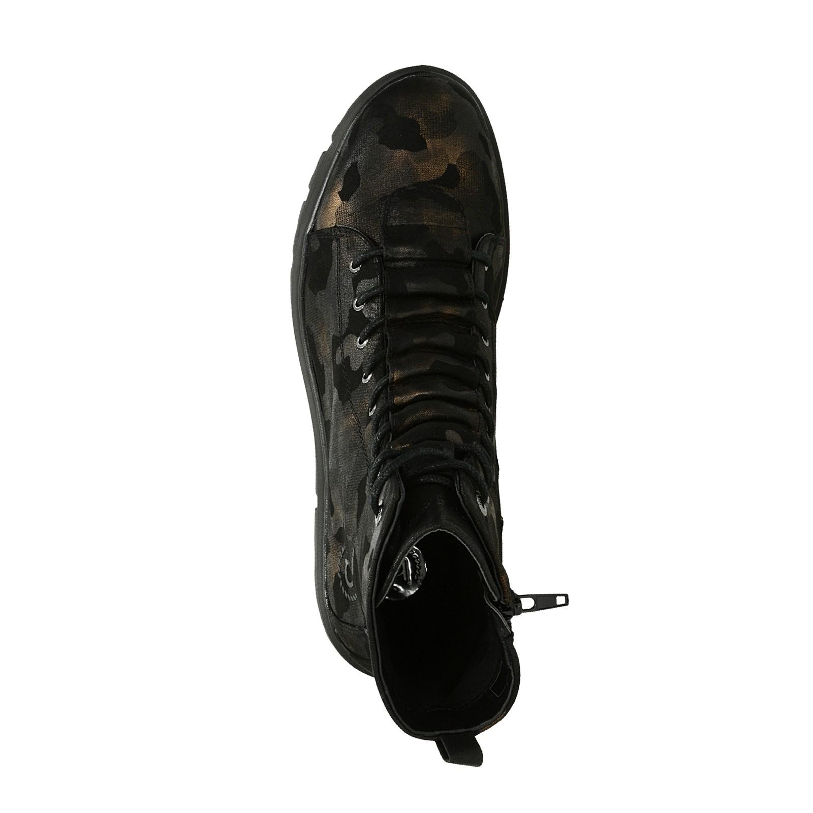 Bugatti dámské stylové kotníkové boty s maskačovým vzorem - černé