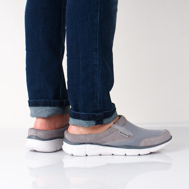 Skechers pánské pohodlné nazouváky - šedé