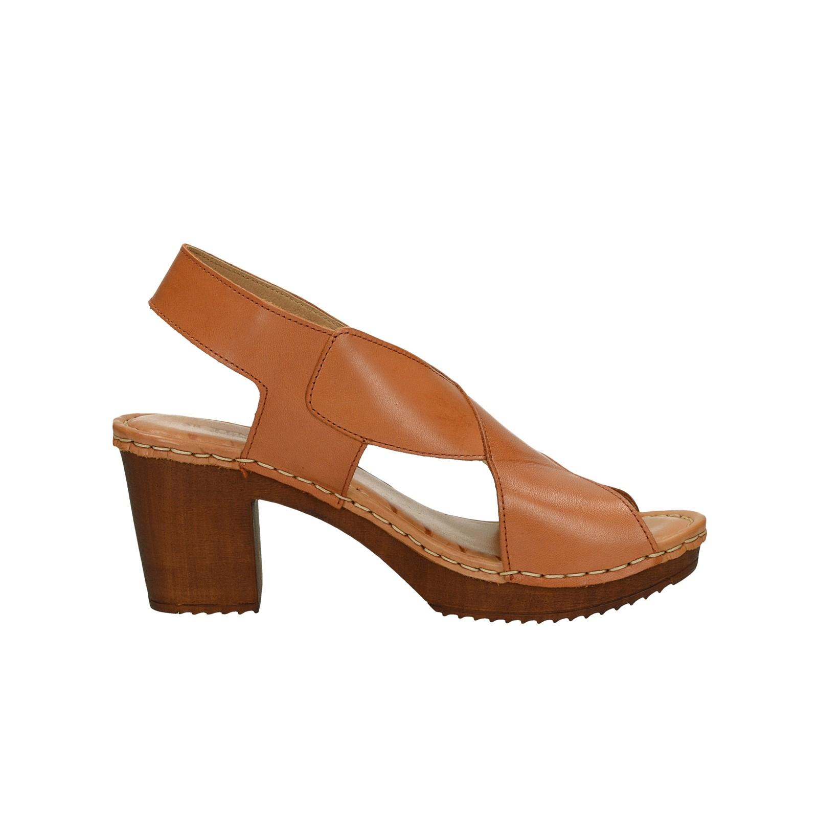 Ten Points dámské kožené sandály na podpatku - koňakové