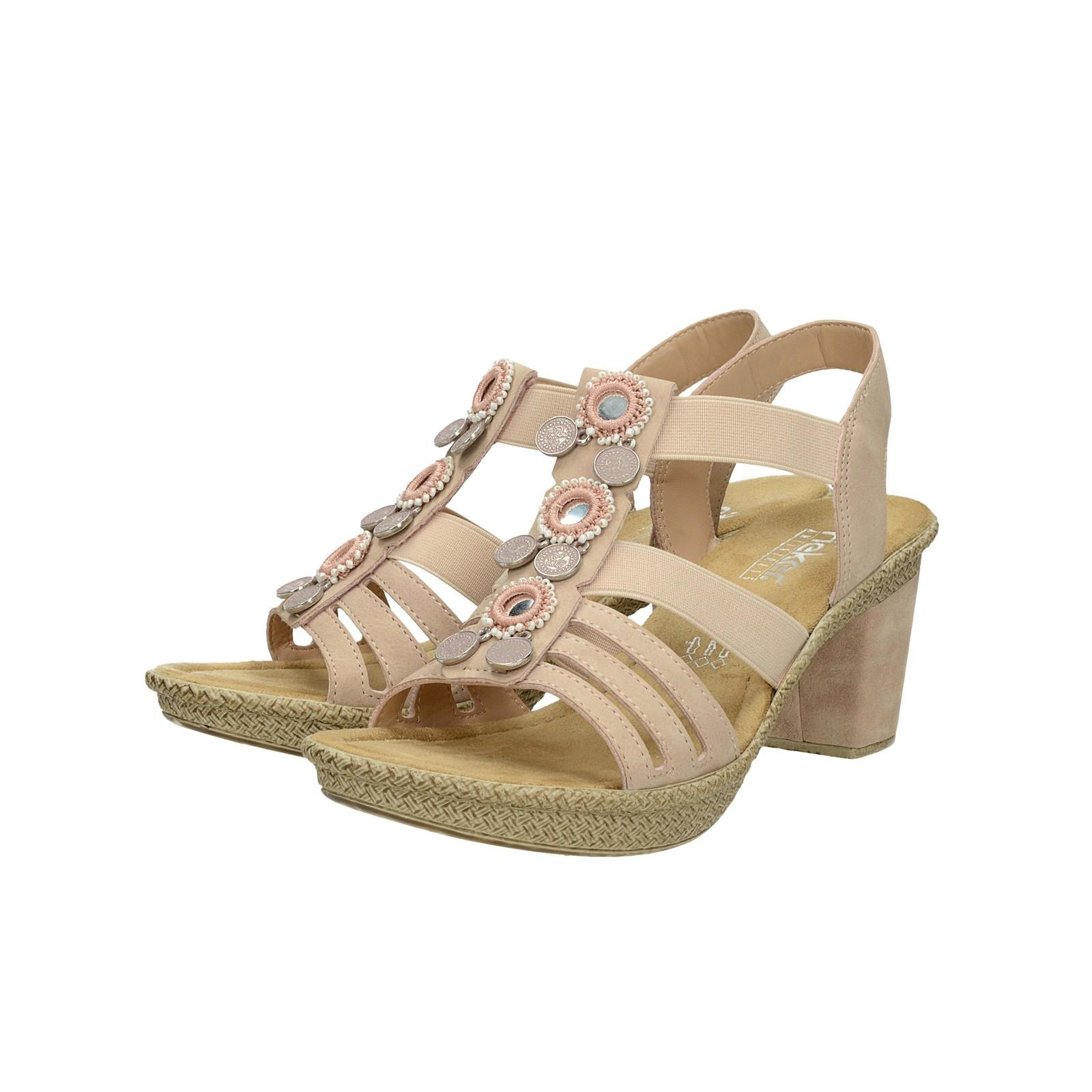 3966f9bd8d27 Rieker dámské stylové sandály s ozdobnými prvky - růžové ...