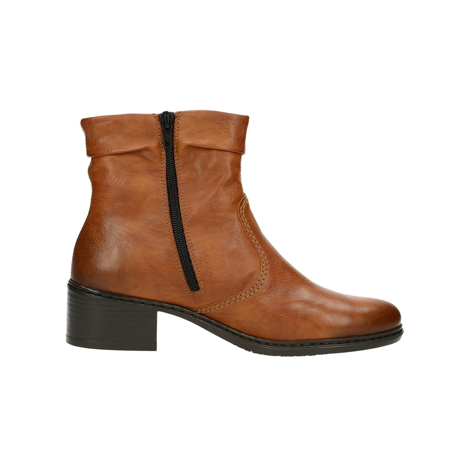 Rieker dámské kotníkové boty na zip - koňakové ... 0d4f729147