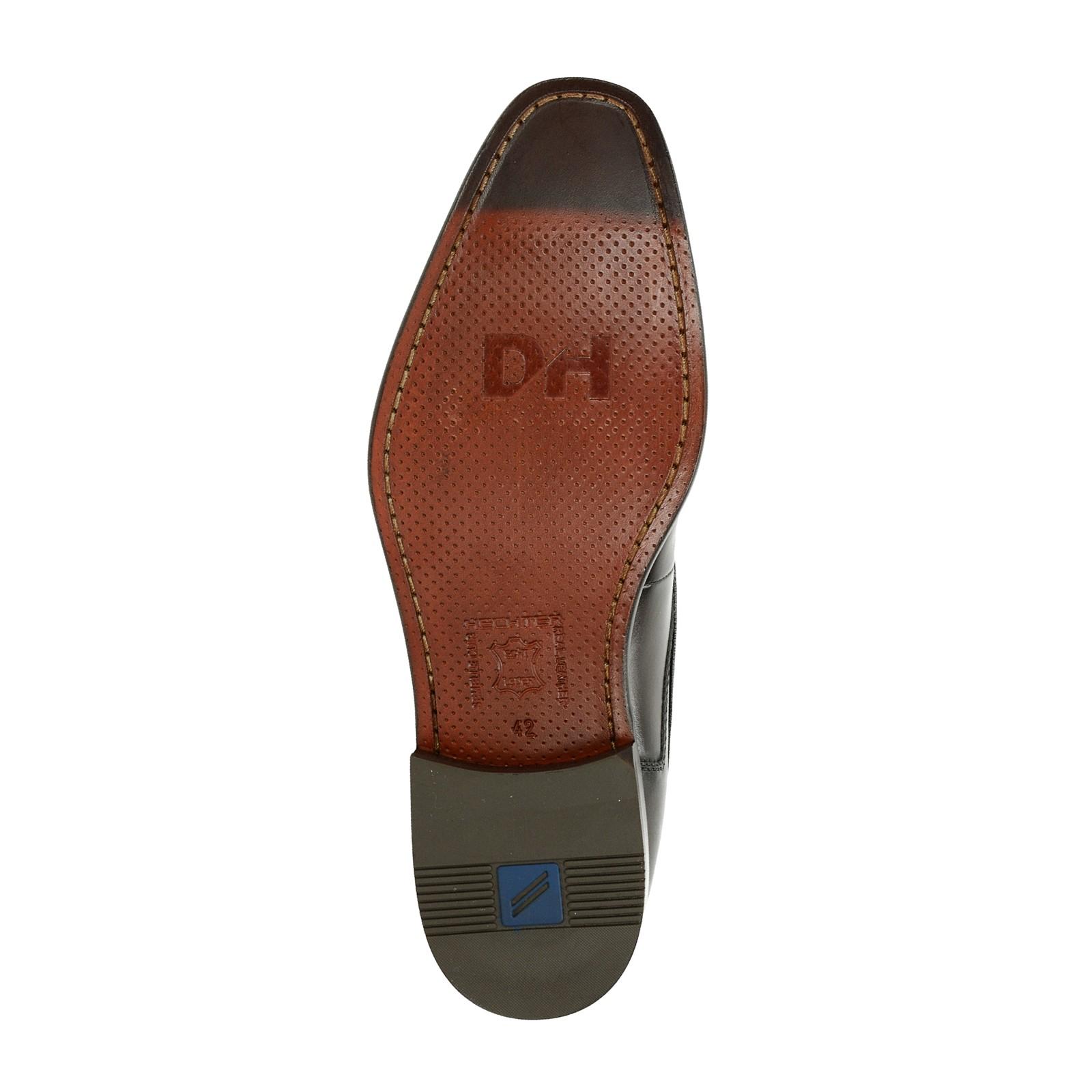Daniel Hechter pánské kožené společenské boty - tmavohnědé