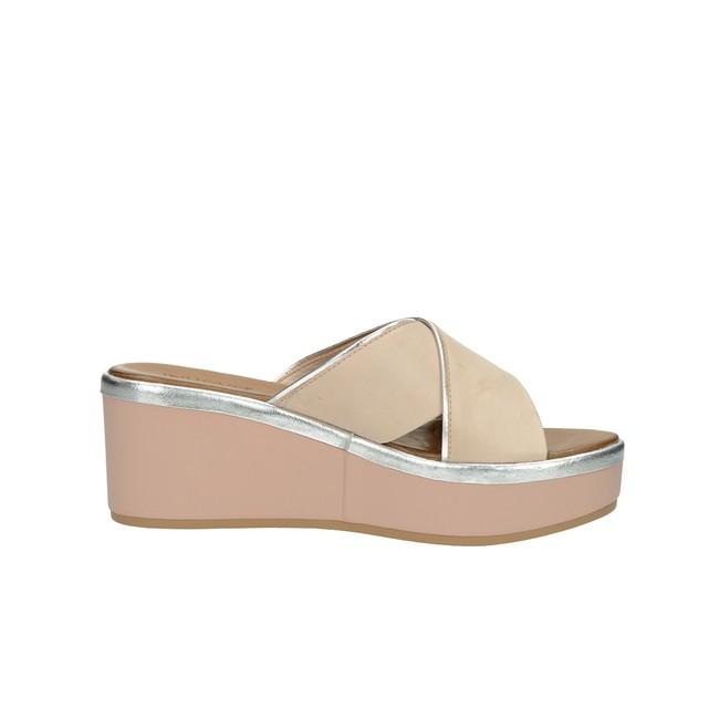 Inuovo dámské kožené pantofle na klínovou podešví - růžová ... 249e9609d2