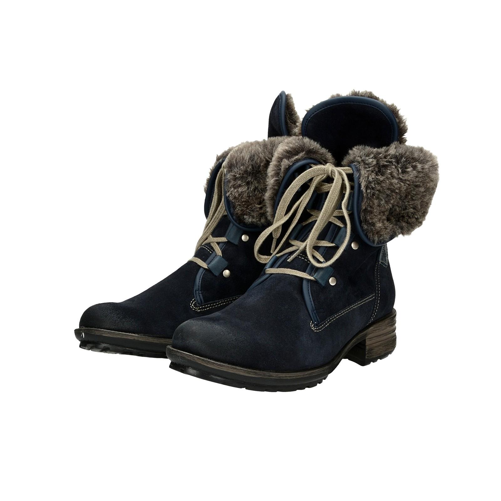 Josef Seibel dámské semišové zateplené kotníkové boty - tmavomodré
