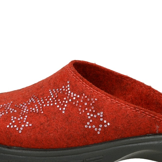 Inblu dámská domácí obuv s ozdobnými kamínky - červená