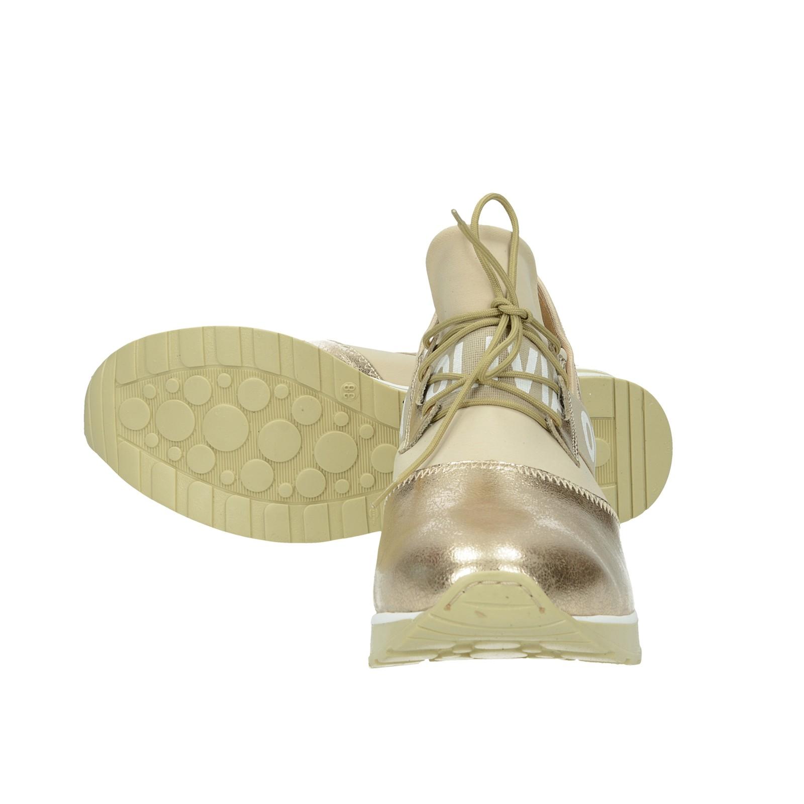 Olivia shoes dámské kožené tenisky na klinové podrážce - zlaté