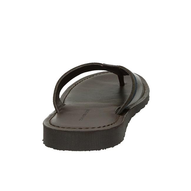 Tommy Hilfiger pánské kožené nazouváky - tmavohnědé