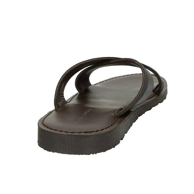 Tommy Hilfiger pánské kožené nazouváky - hnědé