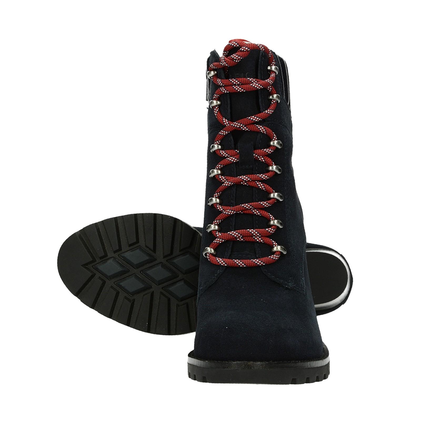 ada3cfc71ff ... Tommy Hilfiger dámské semišové kotníkové boty na podpatku - tmavomodré  ...