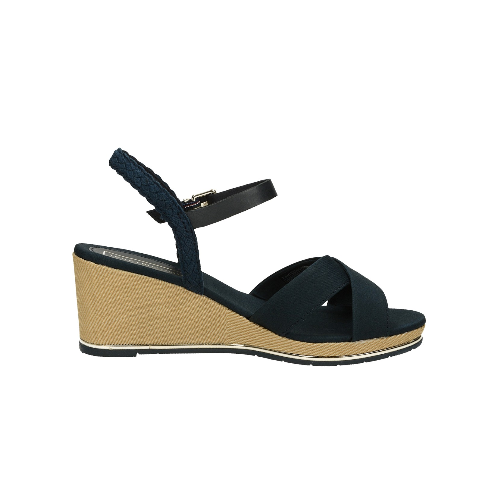 Tommy Hilfiger dámské stylové sandály na klinové podrážce - tmavomodré