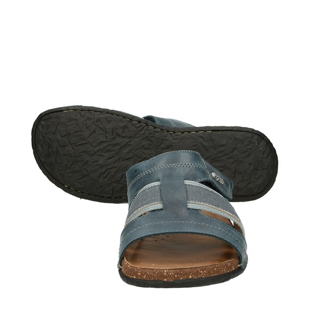 Fly Flot pánské pohodlné kožené nazouváky - modré