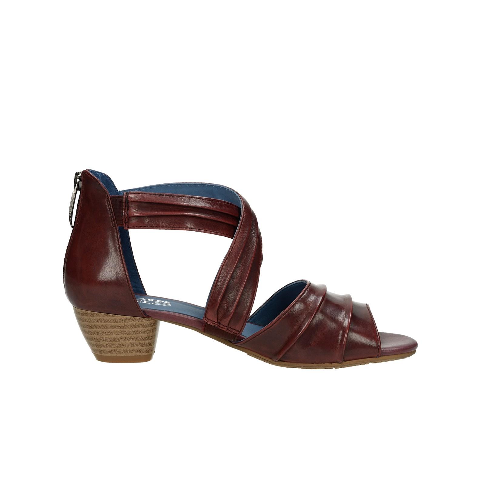 Regarde le ciel dámské kožené sandály - bordó