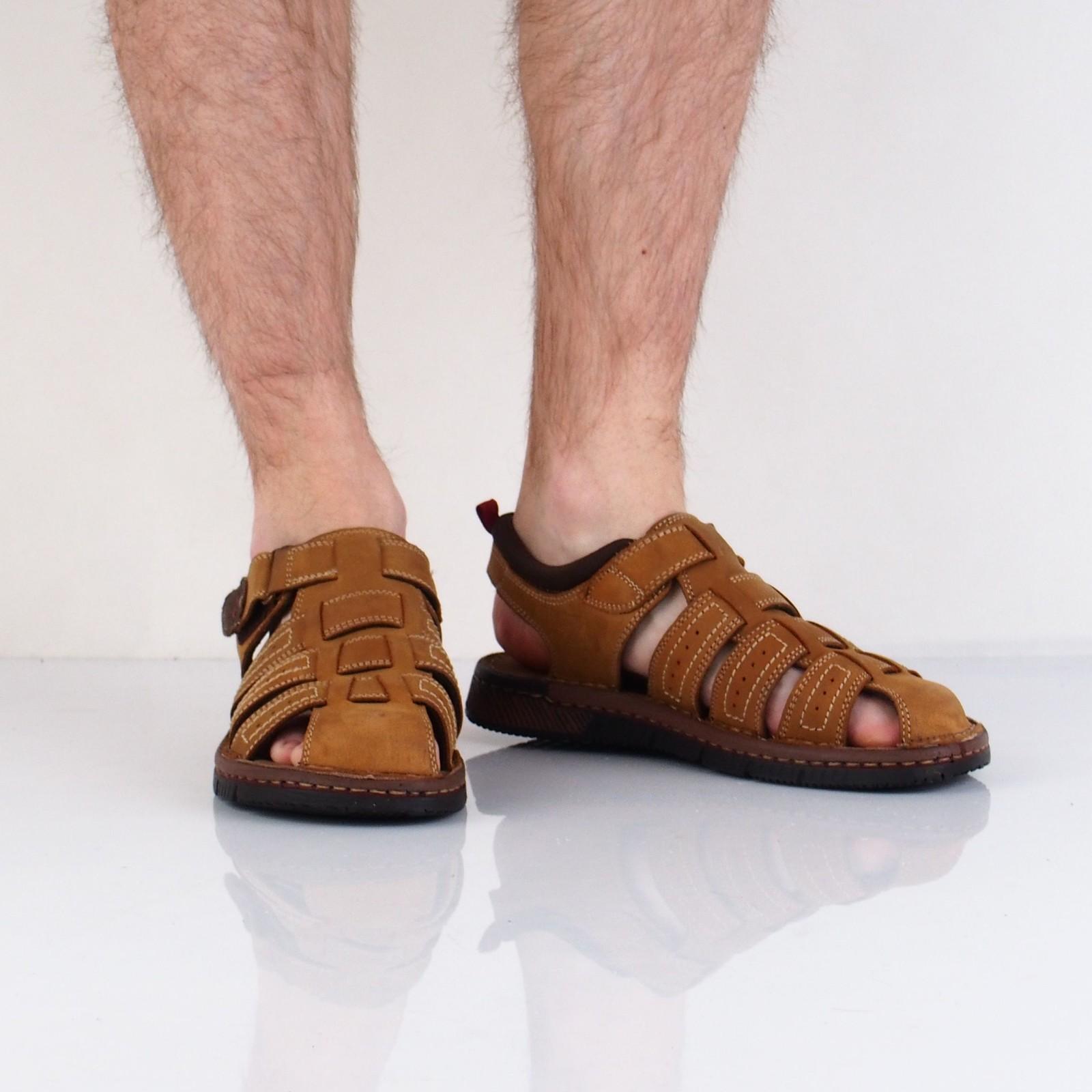 Klondike pánské nubukové sandály - béžové