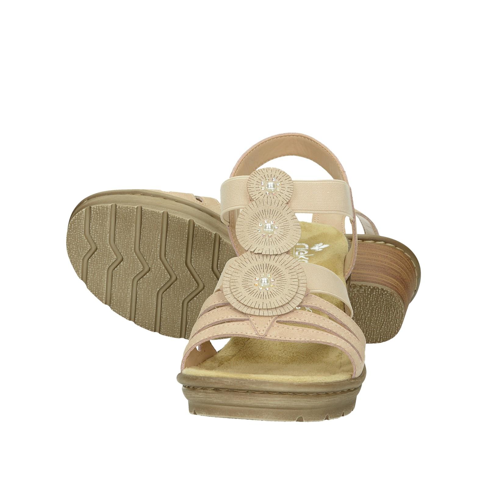 Rieker dámské stylové sandály na podpatku - růžové