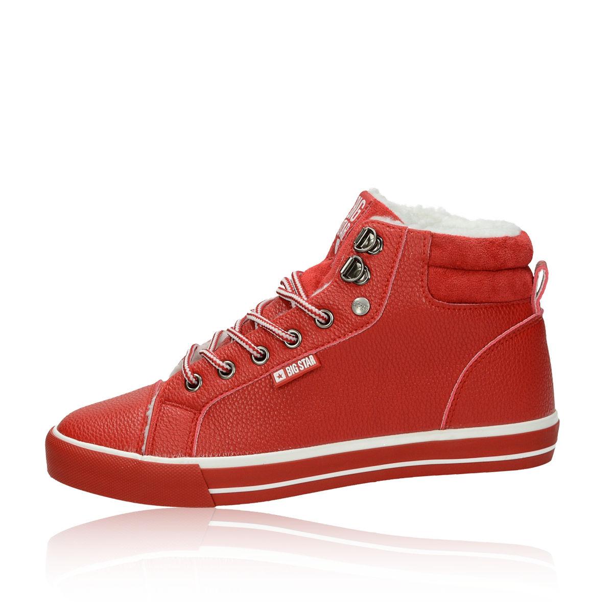 ... Big Star dámské stylové zateplené tenisky - červené ... b02c548378