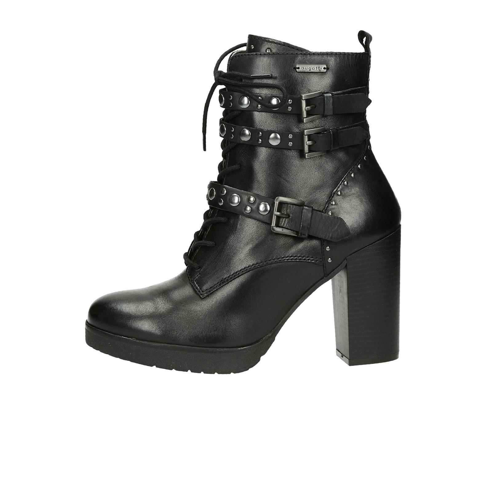 ... Bugatti dámské stylové kožené kotníkové boty na vysokém podpatku - černé  ... 5bbffd4ff0