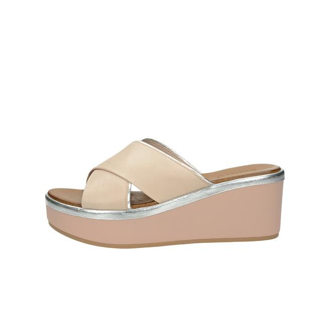 ... Inuovo dámské kožené pantofle na klínovou podešví - růžová ... 338a146997