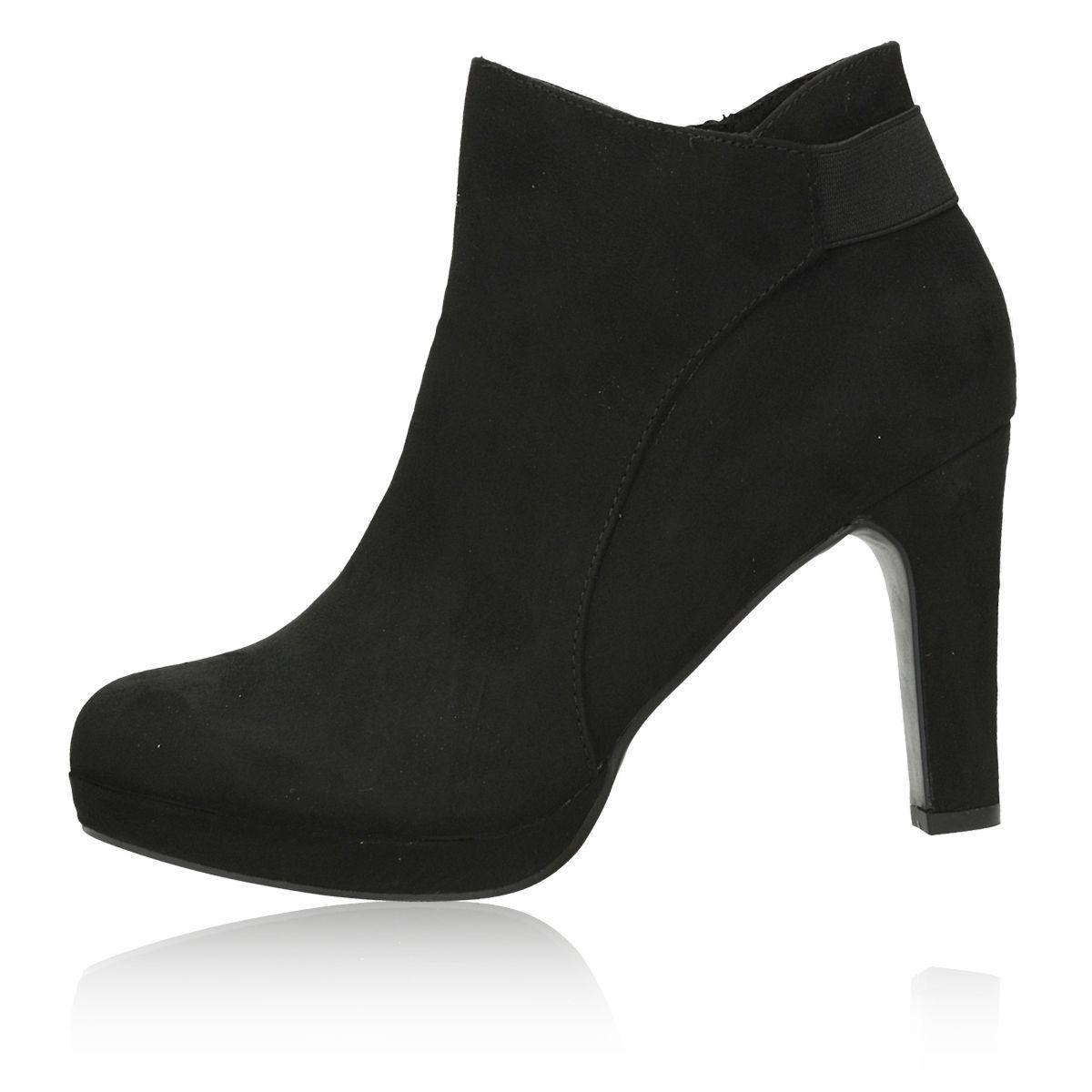 ... Jane Klain dámské textilní kotníkové boty na vysokém podpatku - černé  ... 557aea249b