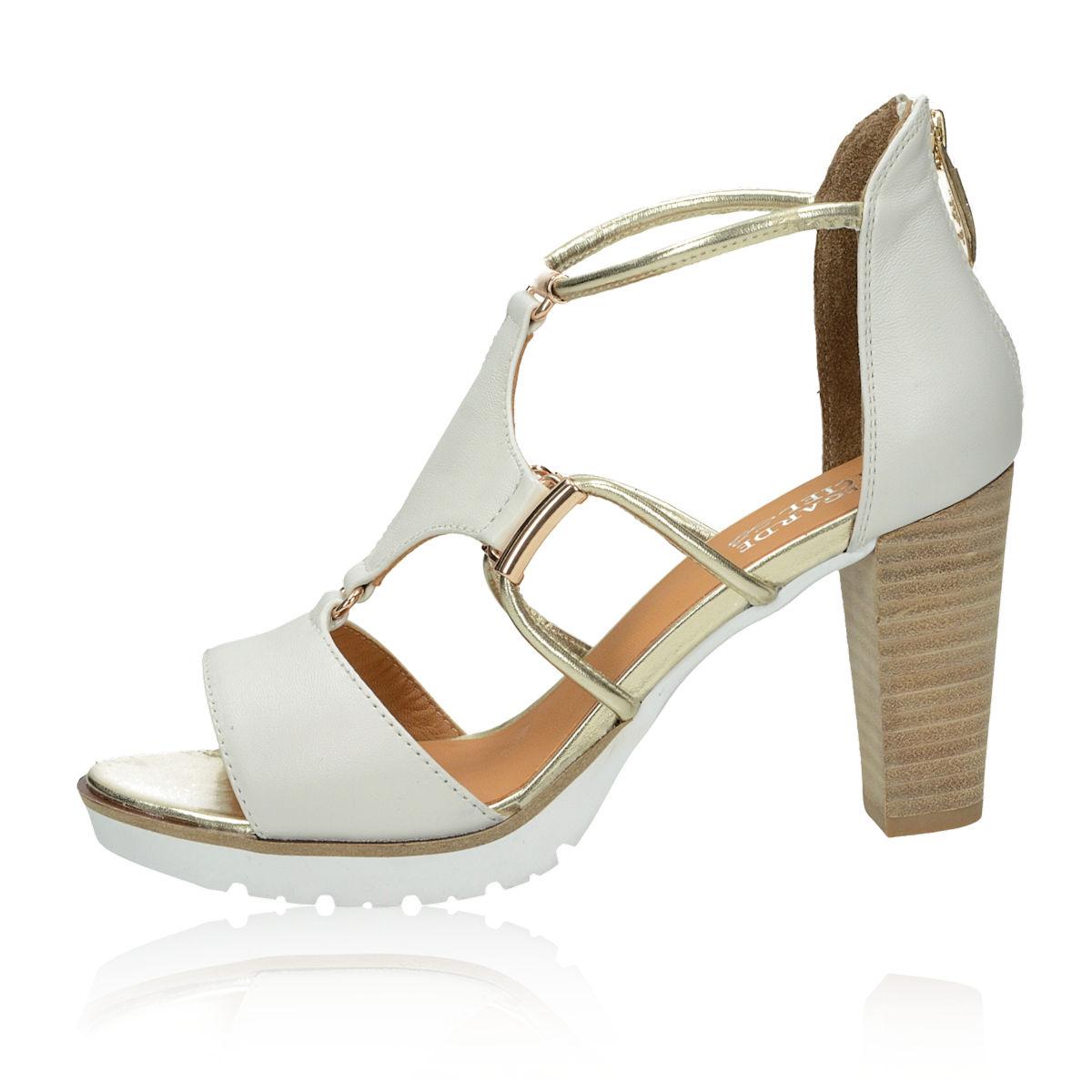 Regarde le ciel dámské kožené stylové sandály - bílé