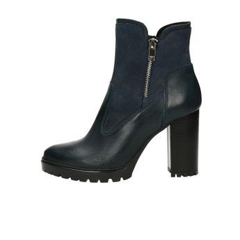 Acord dámské kožené kotníkové boty na zip - tmavomodré