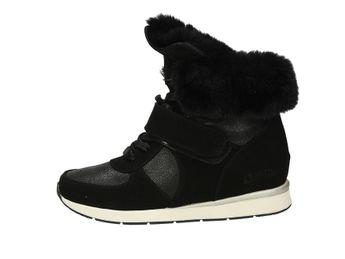 Big Star dámské kotníkové boty s kožešinou - černé