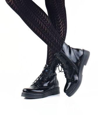 Bugatti dámské lesklé kotníkové boty - černé